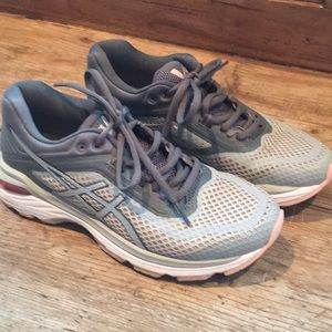 ASICS gray and peach tennis shoes